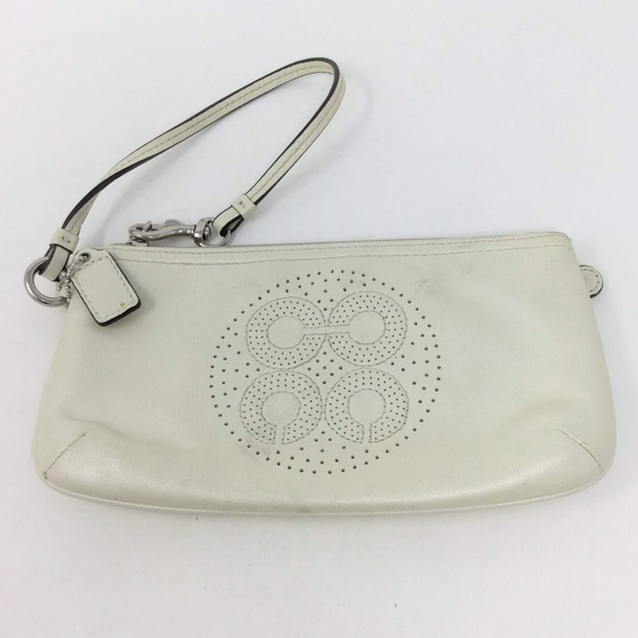 Coach Handbags - Coach White Leather Wristlet Bag